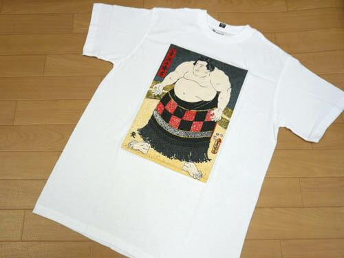 t恤力士相扑浮世绘白短袖t恤汉字日式和睦花纹给的礼物m~ll