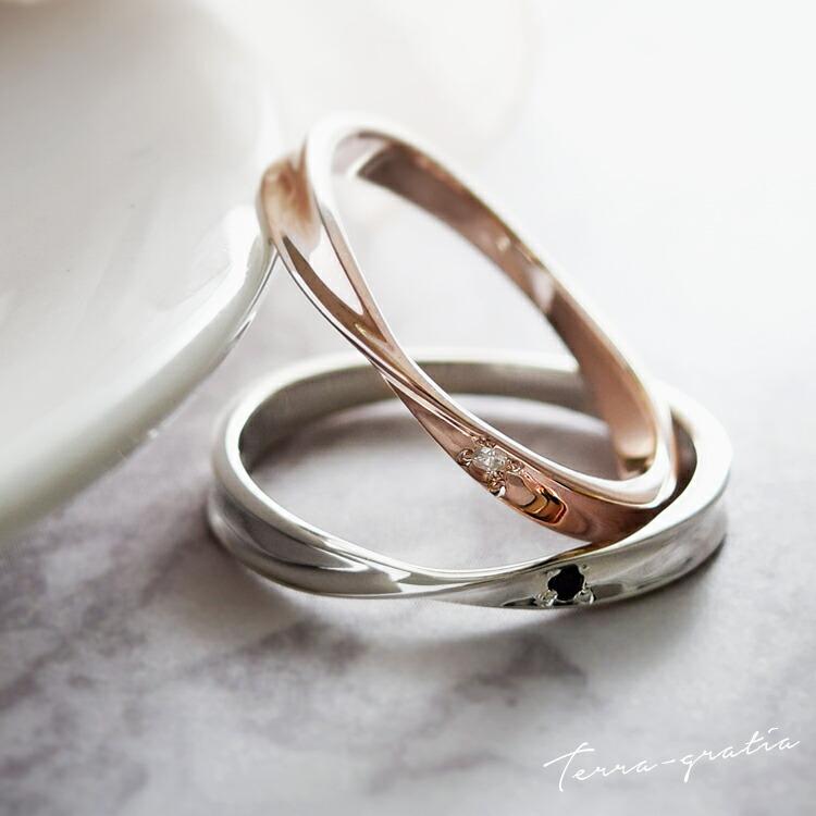 細身のひねりデザインが美しい、ダイヤモンド入りシルバー&ピンクシルバーペアリング