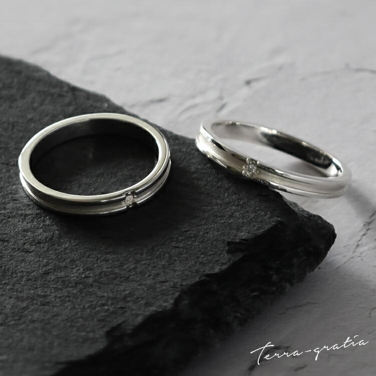 ダイヤモンドが煌めくマットクロスラインデザイン、シルバー925ペアリング