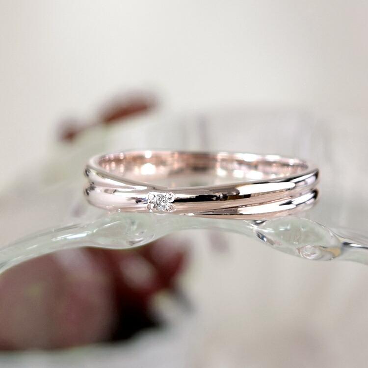 ダイヤモンドが輝くピンクシルバーレディースリング
