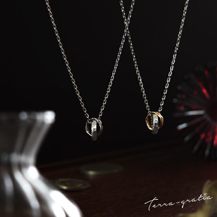 2つのかわいいリングが重なる、ダイヤモンド入りガンメタル&ローズゴールドカラーコーティング、ステンレスペアネックレス