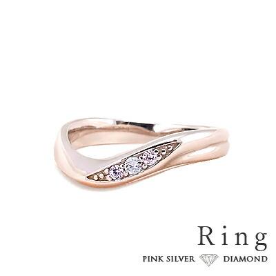 ダイヤモンド付ピンクシルバーレディースリング