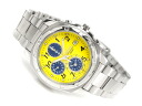 Seiko high-speed chronograph mens watch yellow / grey-blue dial-stainless steel belt SND409P1