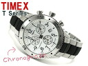 Timex T series Chronograph Watch Satin Silver Dial stainless steel x urethane Combi belt T2M707