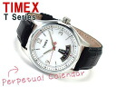 Timex T-Series men's perpetual calendar watch White Dial black leather belt T2N219
