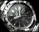 Seiko 5 sports mens automatic watch-black dial-silver stainless steel belt SNZJ05J1