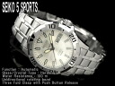 Seiko 5 sports mens Automatic Watch Silver Dial stainless steel belt SNZJ37K1