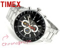 Timex SL men chronograph watch black dial multicolored needle stainless steel belt T2N153