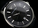Emporio armani men watch black dial black leather belt AR2411