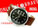 Diesel men's watch black dial brown leather belt DZ1513