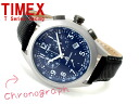 Timex T series men chronograph watch navy leather belt T2N391