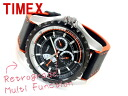 Timex multifunction retrograde black orange polyurethane belt T2M428