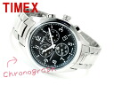 Timex T series men chronograph watch black stainless steel belt T2M469