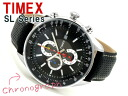 Timex SL men chronograph watch black dial multicolored needle leather belt T2N156