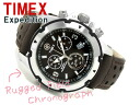 Timex Expedition OUTDOOR men chronograph watch black dial dark brown leather belt T49627