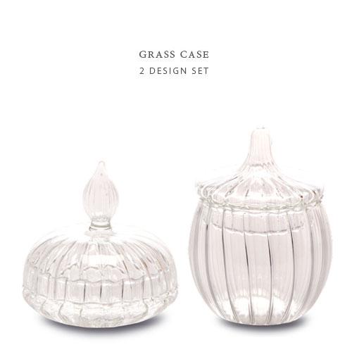 GRASS CASE ガラス ケース ≪2デザインセット≫ 小物入れ ガラスキャニスター