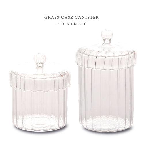 GRASS CASE ガラス キャニスター ≪2デザインセット≫ 小物入れ ガラスケース