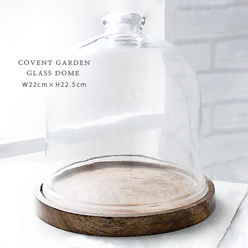 COVENT GARDEN パントリー ガラスドーム Ф22cm×H22.5cm 木製 ディスプレイ