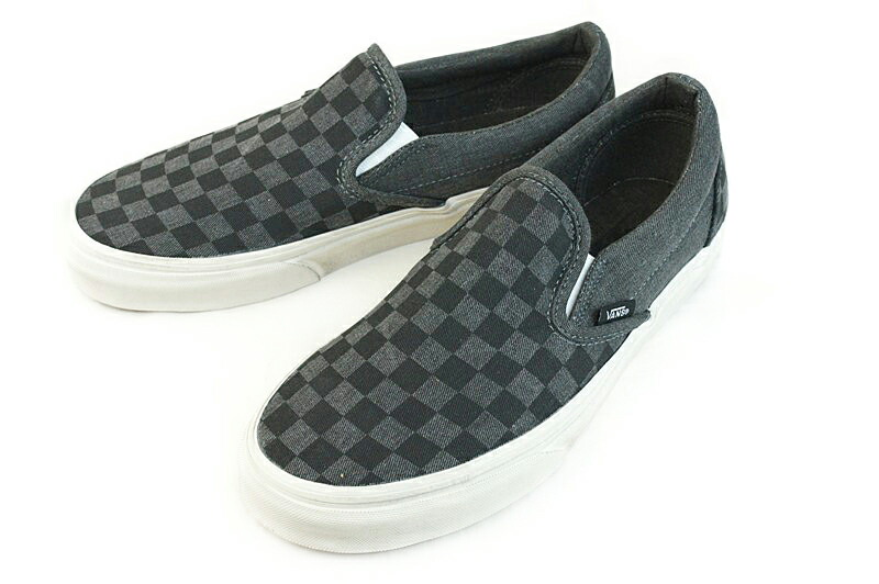 vans classic slip on checkerboard black overwashed