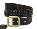 4 postage, collect on delivery fee free regular dealer HTC (Hollywood Trading Company) row Pyramid Black Studs Belt(4 consecutive pyramid black studs belt) black leather fs3gm