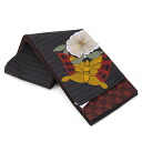 "Reversible half-breadth sash ""butterfly and rose"" black"