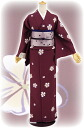"Street corner brand kimono newly made 小紋袷 ""Sakura"" wine red - free to be able to inquire into"