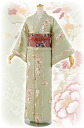 "Washable kimono newly made 小紋袷 ""peony and snowflake pattern"" green --free size"