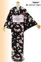 "Kimono tailoring up washable Komon lined ""cone and four seasons flower black-Msize"