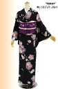 "Washable kimono newly made 小紋袷 ""diaphragm cherry tree"" black -Msize"