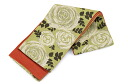 Washable obi reversible half-breadth sash rose / yellowish green X family crest of a hemp leaf / orange