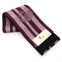 "Reversible Obi ""chic and trendy"" yukata belt-purple striped and flower pattern"