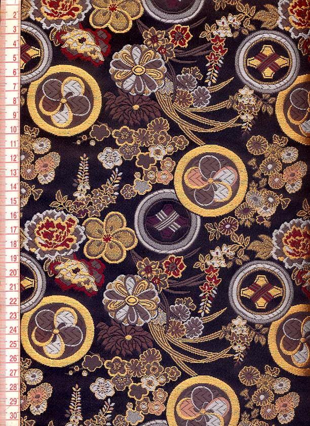 对京都西面阵地/金线锦缎布料花是花纹传单/裙带菜/和生地和睦柄布料