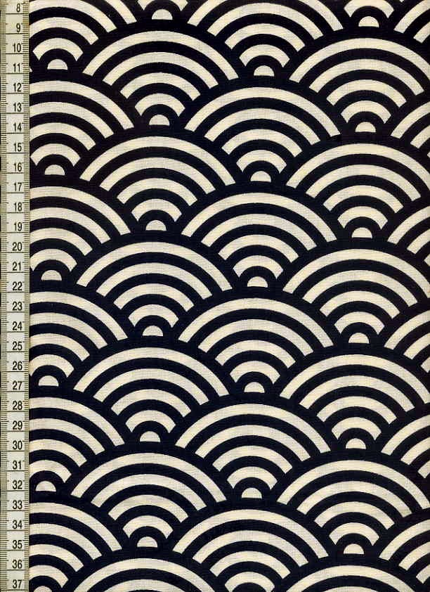 棉花日本模式青海波模式 (深蓝色) / 琢磨 / 日本面料和日本花纹织物