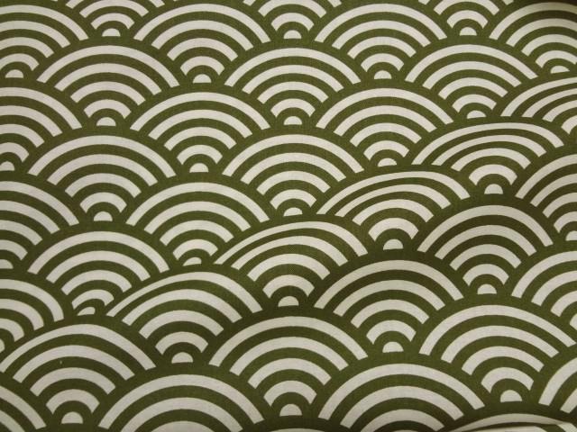 棉花日本模式青海波模式 (绿色) / 琢磨 / 日本面料和日本花纹织物