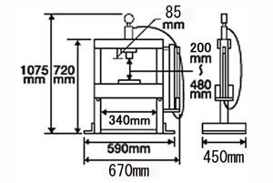油圧プレス商品寸法