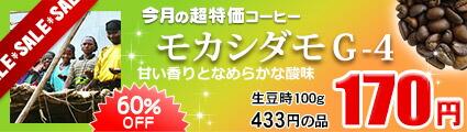 今月のおすすめ豆 超特価品 モカシダモG-4