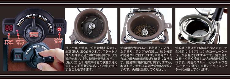 コーヒービーンロースターc-100cr-nの焙煎手順