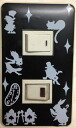 Two sticker Alice in Wonderland switchplate seal hole BK