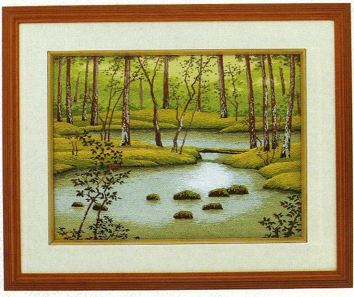 東京文化刺繍キット35「苔寺の池」(3号)