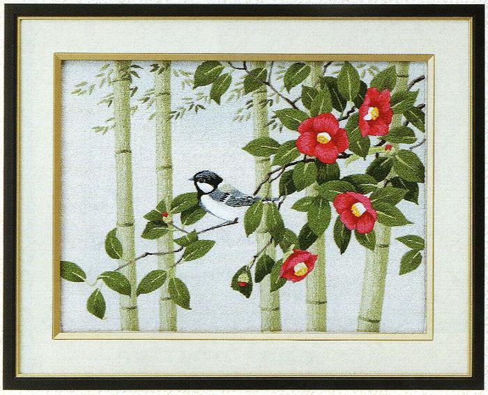 東京文化刺繍キット79「椿と四十雀」(3号)