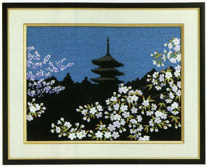 東京文化刺繍キット81「夜桜」(3号)