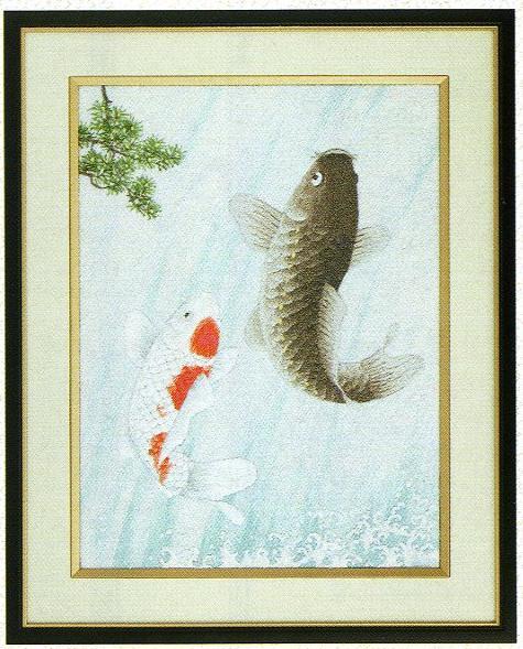 東京文化刺繍キット83「鯉の滝登り」(3号)