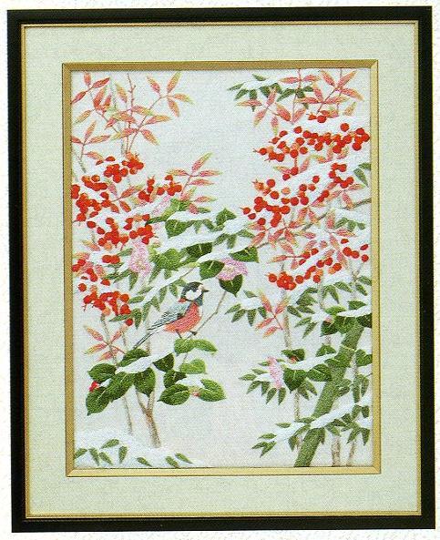 東京文化刺繍キット85「南天と小鳥」(3号)