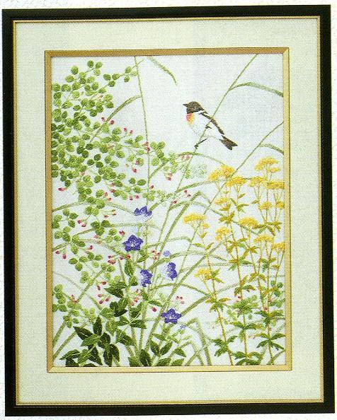 東京文化刺繍キット86「秋草と小鳥」(3号)