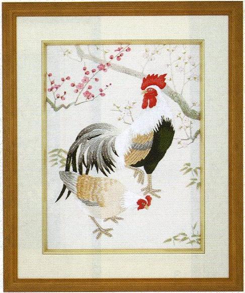 東京文化刺繍キット122「にわとりと梅花」(3号)