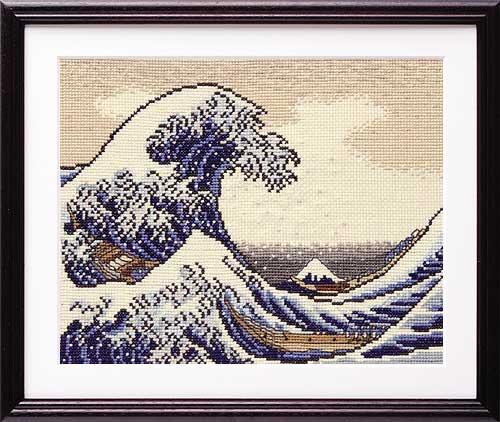 Olympusクロス刺繍キット7136 「神奈川沖浪裏」