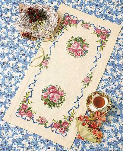 テーブルセンターOlympusクロス刺繍キット1176「ローズガーデン」