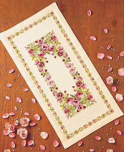 テーブルセンターOlympusクロス刺繍キット1177「フラワーガーデン」