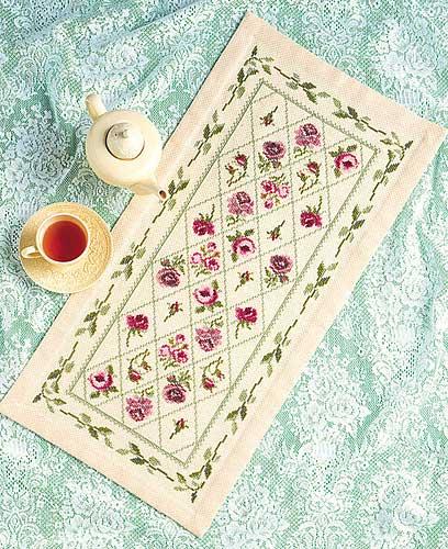 テーブルセンターOlympusクロス刺繍キット1178「リーフガーランド」