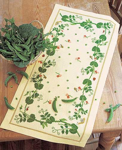 テーブルセンターOlympusクロス刺繍キット1182「グリーンピース」